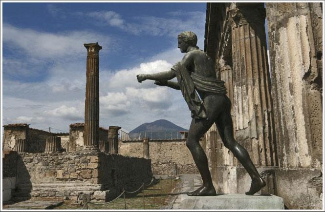 Old Pompei and Vesuvius